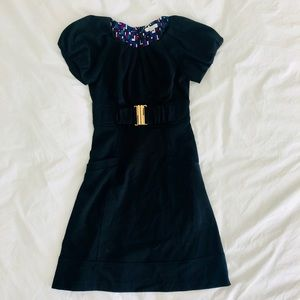 Shoshanna Black Short Sleeve Dress Gold Buckle 2